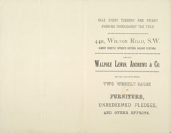 Advert for Walpole, Lewin, Andrews & Co, furniture sale, reverse side